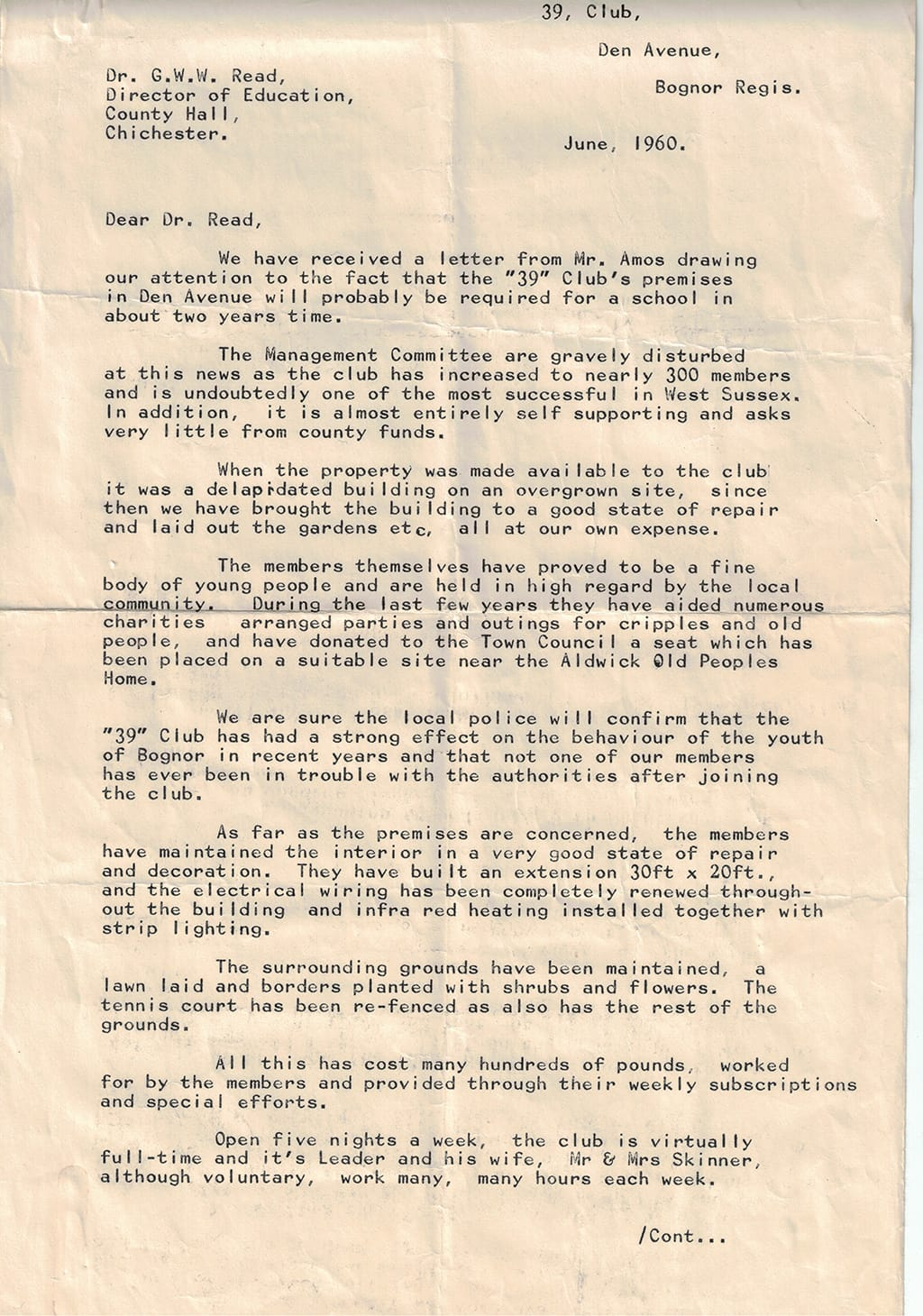 Picture of letter from 1960s